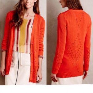 Moth Anthropologie cardigan orange knit buttons